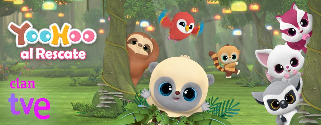 Banner de la marca YooHoo, con los personajes en 3d de muchas especies de animales en extinción